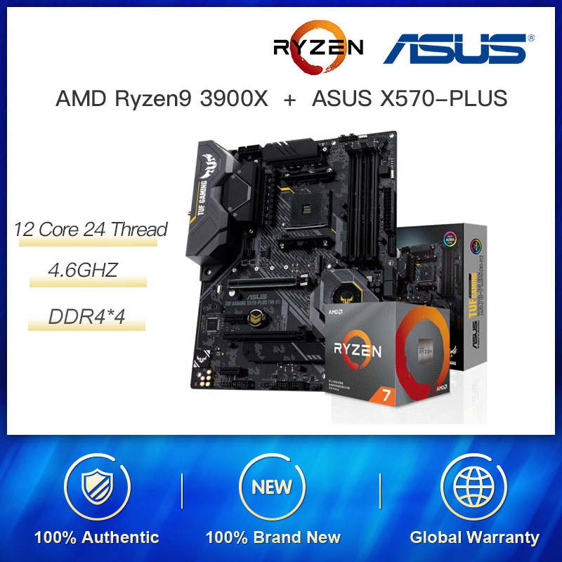 New Combination AMD Ryzen 9 3900X 3.8GHz 105W Twelve-Core 24-Thread CPU Processor Match with ASUS TUF GAMING X570-PLUMotherboard image