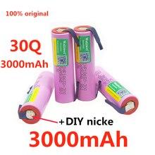 30q capacidade 3.7v 3000mah bateria, adequado para samsung 30q inr 18650 30q 20a bateria de íon de lítio recarregável + diy nicke