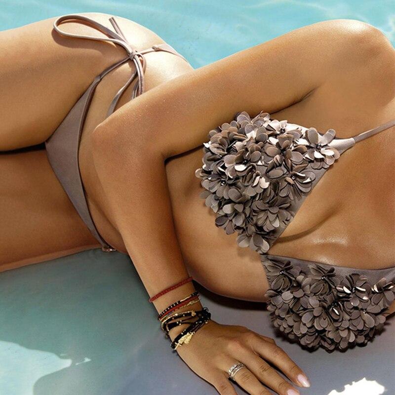 Сексуальный бикини, купальник с лямкой через шею, Одноцветный Купальник для женщин, плюс размер, блестящий комплект бикини с окантовкой, купальный костюм, пуш-ап, двухсекционный костюм - Цвет: BK849BN