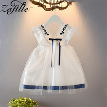 ZAFILLE 2020 New Toddler Summer Dress Cotton Baby Girl Clothes Cute Mesh Kids Clothes V-Neck Princess Party Dress Girls Dresses цена 2017