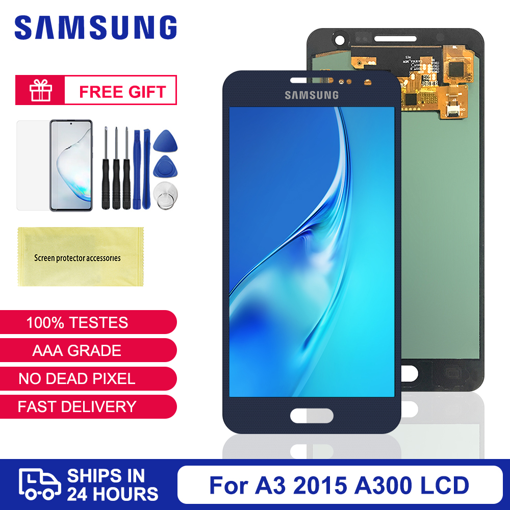 Original A300 <font><b>LCD</b></font> For <font><b>Samsung</b></font> <font><b>Galaxy</b></font> <font><b>A3</b></font> 2015 A300 A3000 A300F A300M <font><b>LCD</b></font> Display Touch Screen A300 Display Digitizer Assembly image