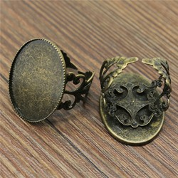 10pcs Wholesale Antique Bronze Filigree Ring Blank Jewelry with inner 13*18/18*25mm Teeth Edge Cameo Setting Cabochons Tray