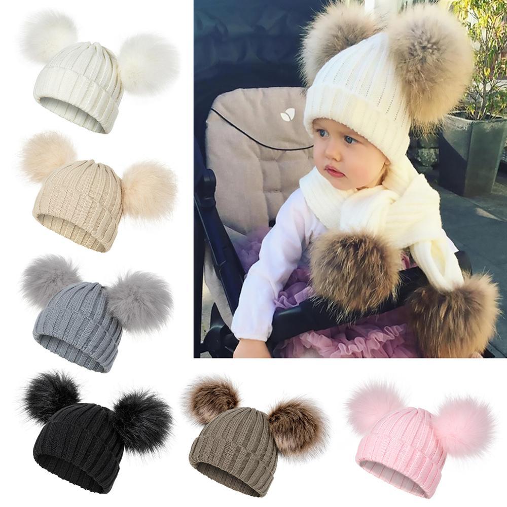 Winter Hat Beanies Warm-Caps Skullies Knitted Girls Kids Fashion Children Cute Pom-Poms
