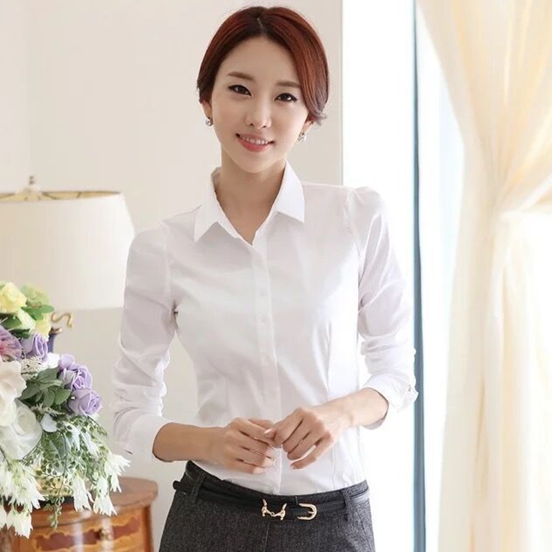 Womens Blouses Cotton Tops and Blouses Casual Long Sleeve Ladies Shirts Pink/White Blusas Plus Size XXXL/5XL Blusa Feminina Tops 5