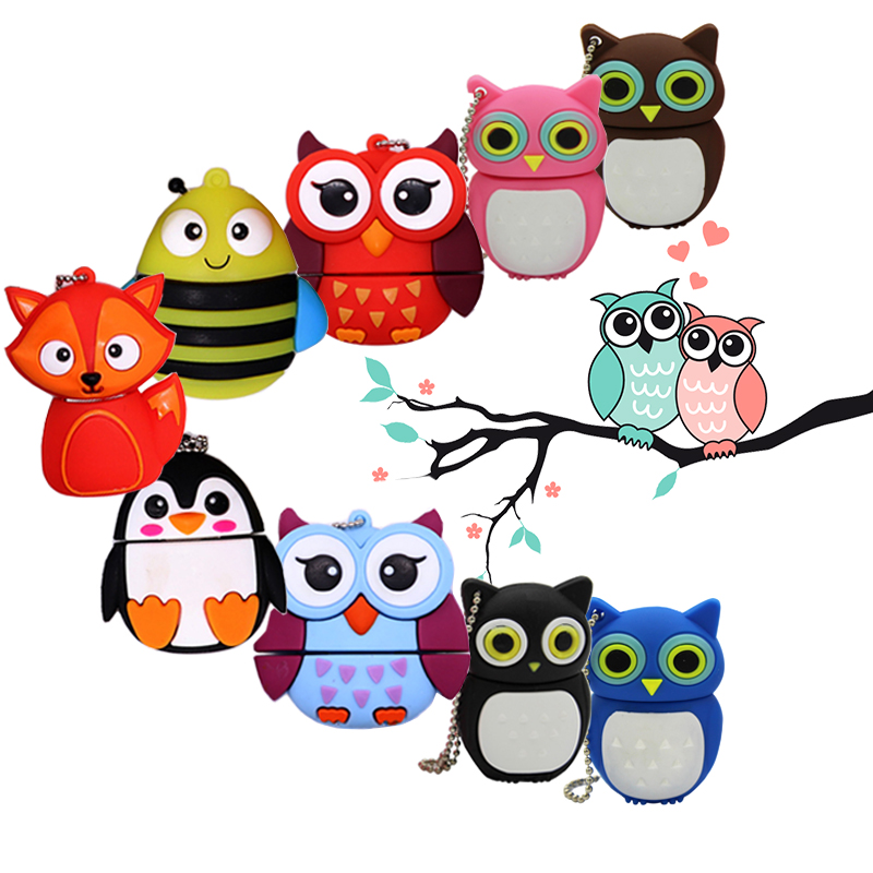 USB Flash 64gb Pendrive 128GB Memory Card Cartoon Owl Pen Drive 4gb 8gb 16gb 32gb Usb Stick Creative Gift Cute Bee Flash Drive C
