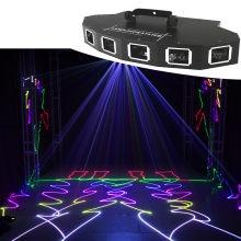 Vendas quentes 6 lente vermelho verde azul rgb feixe de luz laser dmx 512 profissional dj party mostrar clube casa férias barra iluminação palco