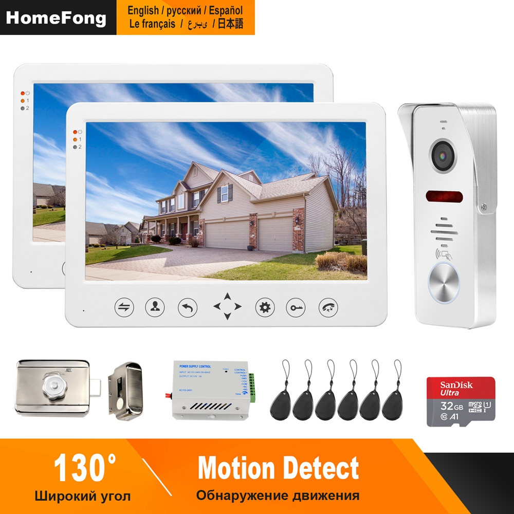 HomeFong 10 Inch Video Door Phone Wired Video Intercom For Home Monitor  Doorbell Camera  Support Motion Detection Electric Lock