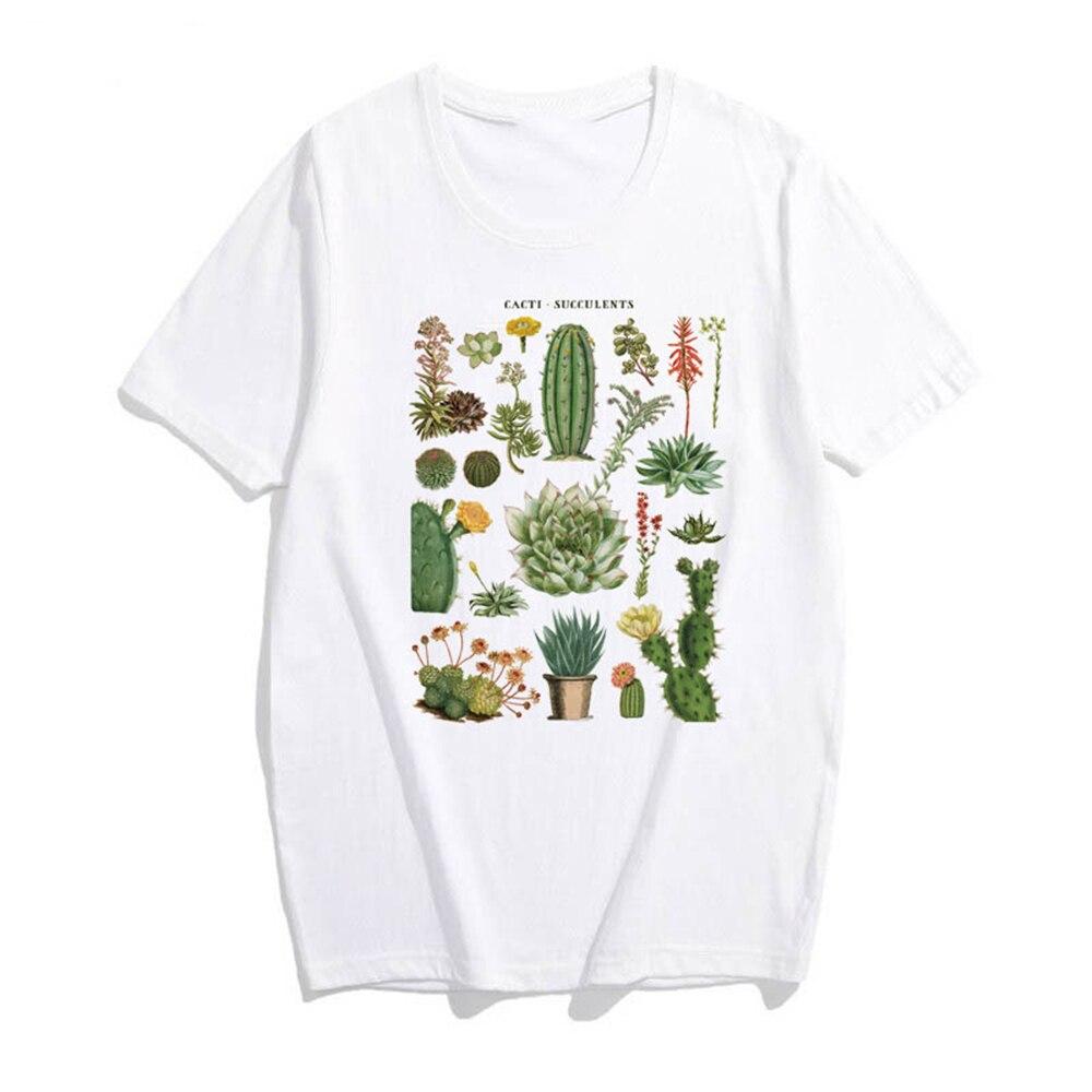 Original Plant Cactus T-shirt Women Aesthetic Harajuku Vintage Kawaii Cotton Plus Size Short Sleeve Tee Shirt Femme Streetwear