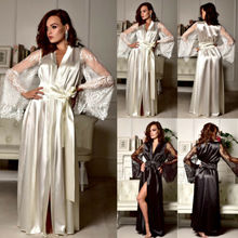 купить Hot Sell Fashion Sexy Lingerie Women Silk Lace Long Robe Dress Sleepwear Pajamas Nightdress Nightgown дешево