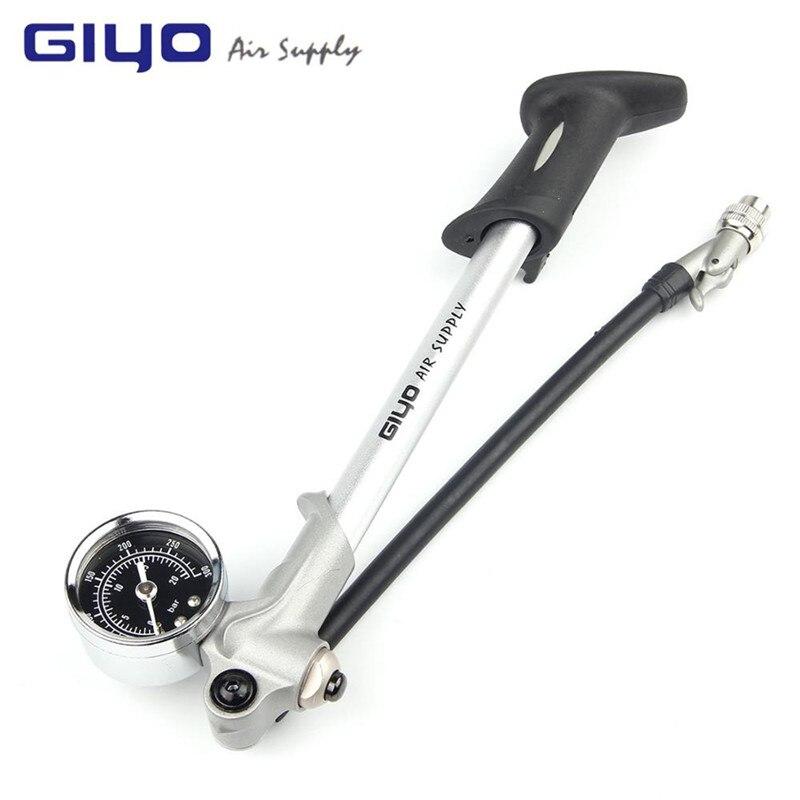 GIYO GS-02D Ad alta pressione Ammortizzatore Ad Aria Pompa Per Sospensione Posteriore Forcella Forcella Della Bicicletta di Ciclismo Mini Tubo di Aria Gonfiatore Schrader 179 millimetri