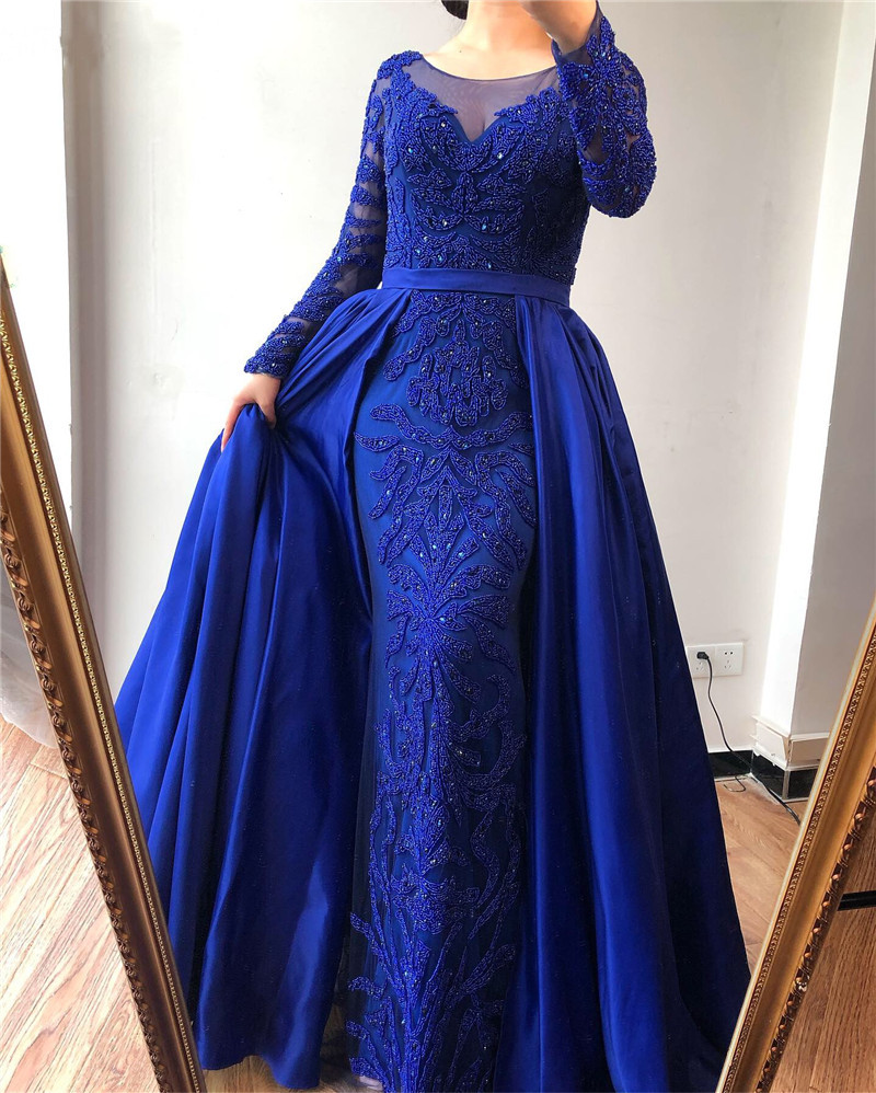 2020 Luxury Mermaid Long Sleeves Lace   Evening     Dress   Scoop Floor-length Double Layers   Dress   with Beading for Party