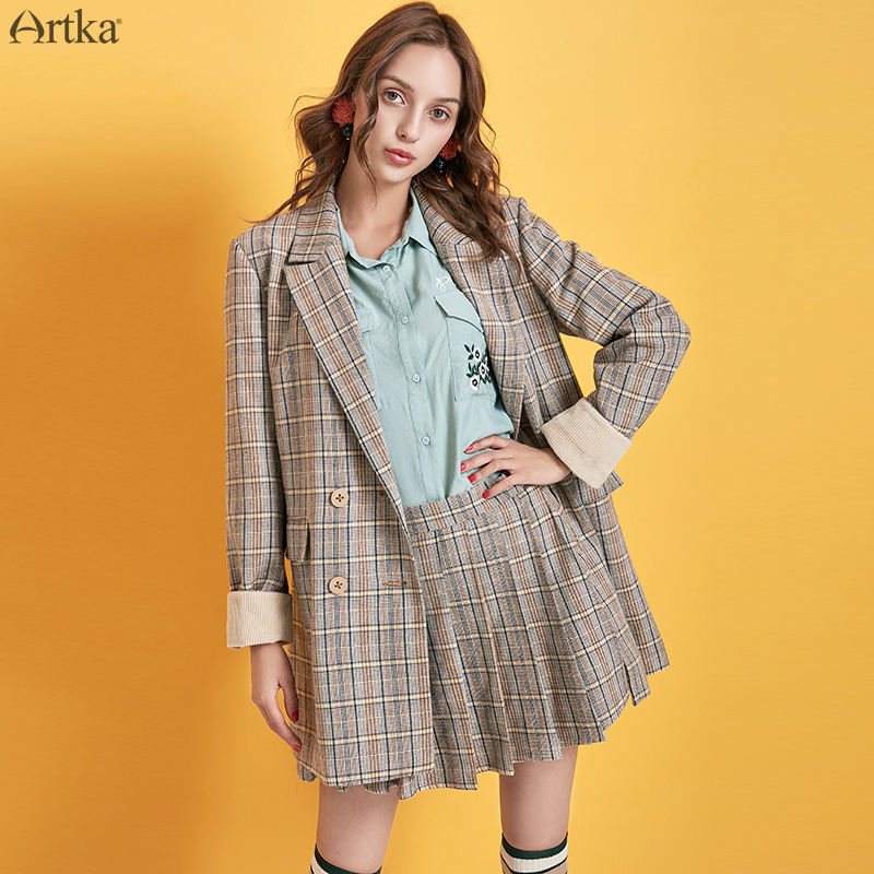 ARTKA 2019 Autumn Winter New Women Suits Vintage Double Breasted Plaid Blazer Set Woolen Blazers Suit With Skirts Women WA10198Q