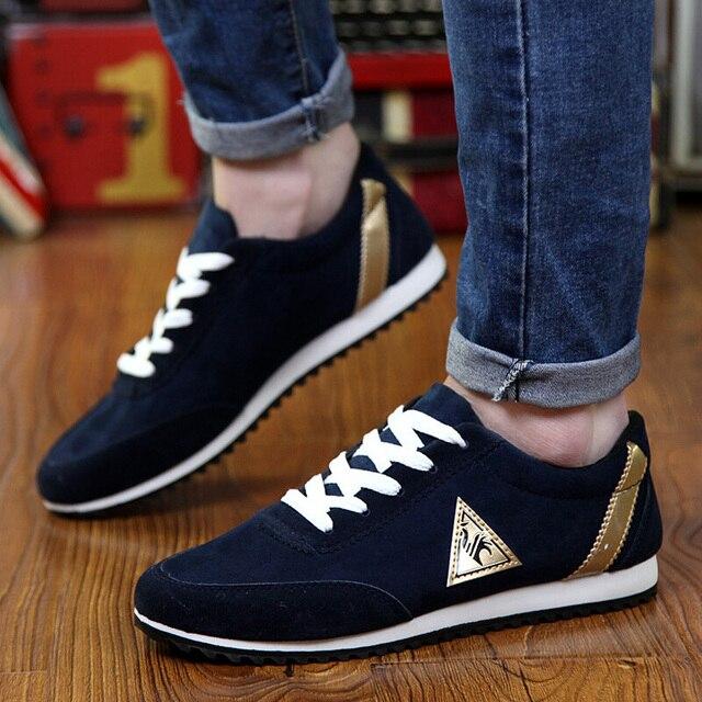 Zapatillas ligeras con cordones para hombre, zapatos informales para caminar al aire libre, planos, Azul, Gris, para trotar, 2020 3