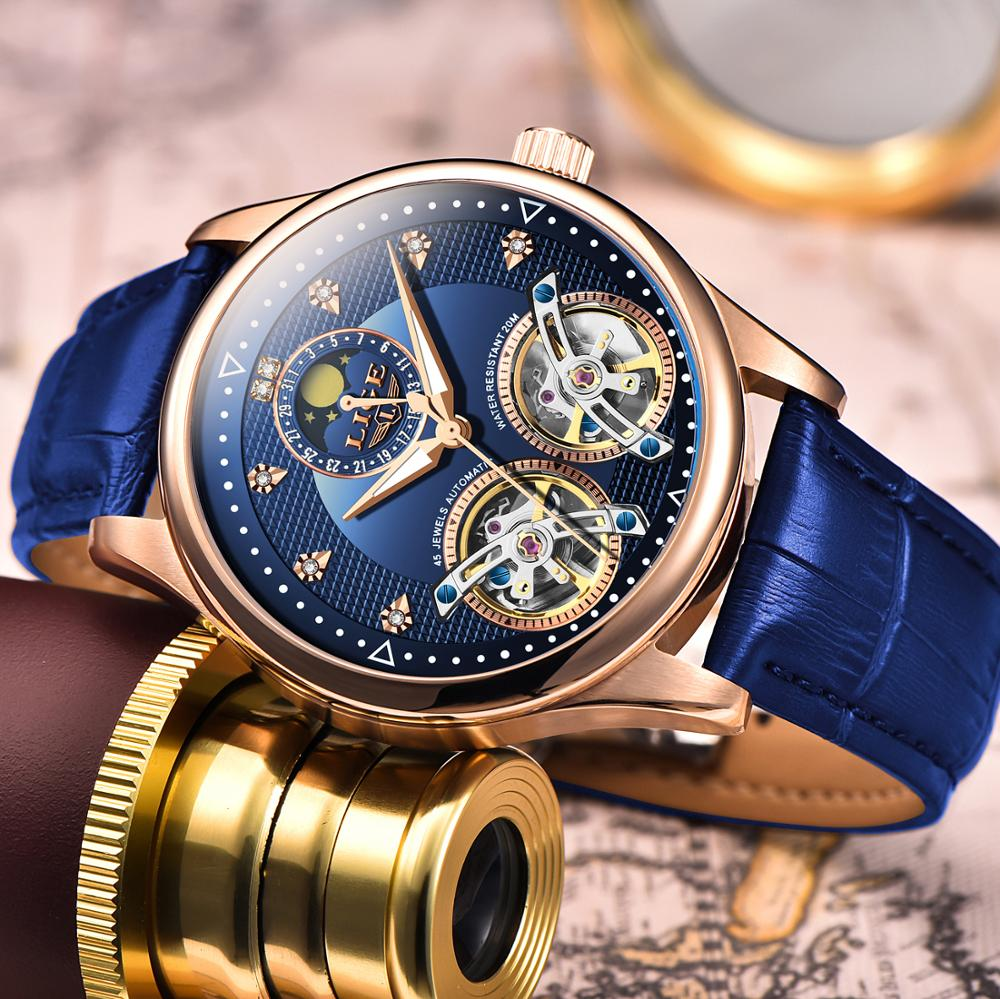 2019 LIGE New Men Watch Automatic Mechanical Watch Tourbillon Clock Genuine Leather Waterproof Business Watch Relogio Masculino