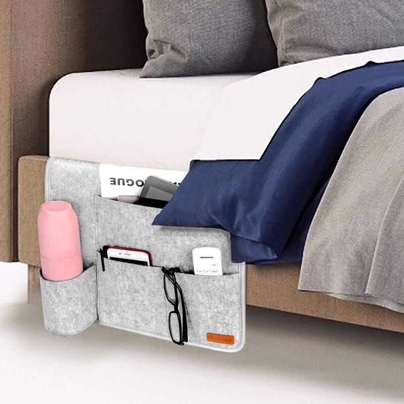 Feutre lit poches de rangement chevet suspendu rangement support organisateur avec poches pour lit Table canapé