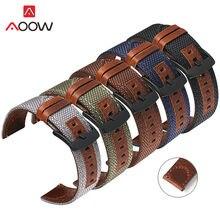 Pulseira de couro genuíno de nylon, pulseira de 20mm 22mm 24mm para relógio samsung galaxy active2 gear s2 s3 huawei gt 2 amazfit bip