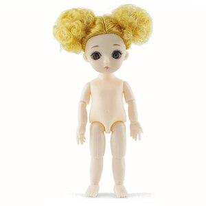 1/12 16 cm bjd bonecas 13 joint moveable original princesa boneca brinquedos maquiagem vestido nu bonito do bebê boneca brinquedo para crianças presentes