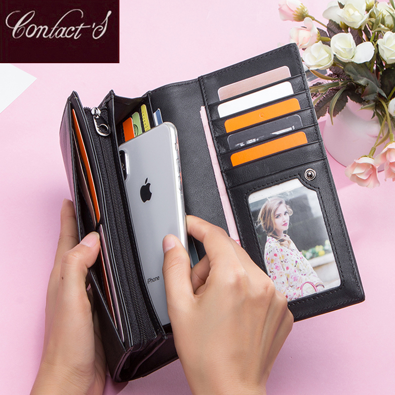 Contact's Genuine Leather Women's Long Wallets With Phone Bag Zipper Coin Pocket Purse Girl Female Clutch Wallet For Men Portfel