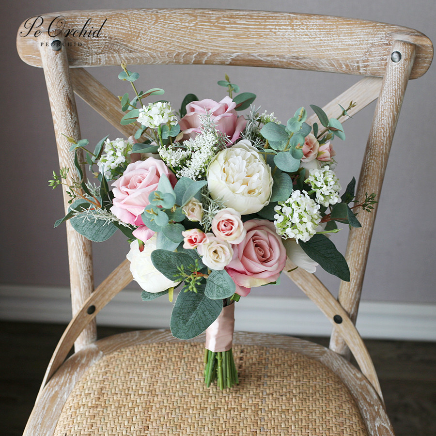 PEORCHID Vintage Dusty Pink Wedding Bouquet Bride Holding Flower Rose Peony Bouquet Artificial Ramo De Flores De Novia