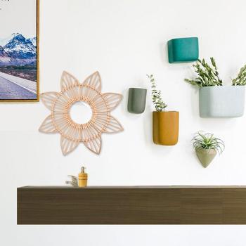 1 Uds. Marco de flor de manualidades de ratán foto creativa cuadro colgado de la pared decoración hecha a mano espejos de ratán decorativos para el hogar
