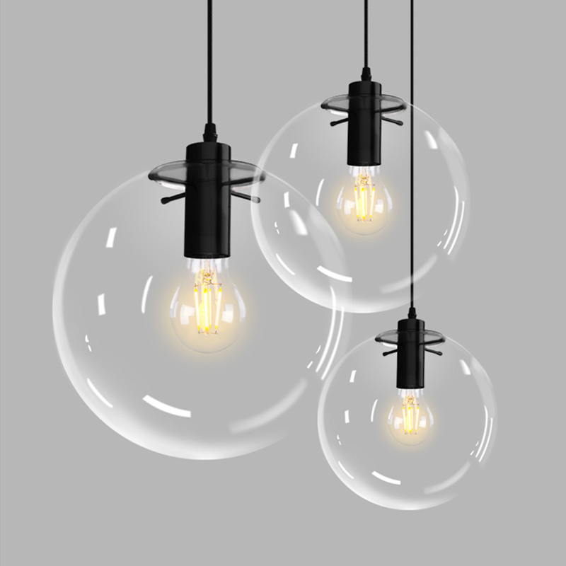 Modern clear glass ball Pendant Lamp dining room living room hanging lamp single head E27 LED Transparent bubble|Pendant Lights| |  - title=