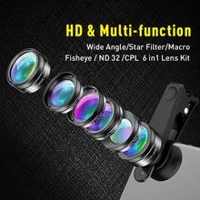 APEXEL Universal 6 en 1 Kit de lentes de cámara de teléfono Lente ojo de pez lente macro gran angular CPL/StarND32 filtro para casi todos los teléfonos inteligentes