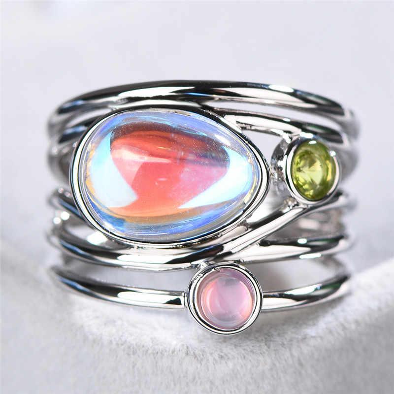بوهو الإناث السيدات كبيرة خاتم من حجر القمر الفضة ارتفع الذهب اللون خاتم مجوهرات وعد الحب خواتم الخطبة للنساء