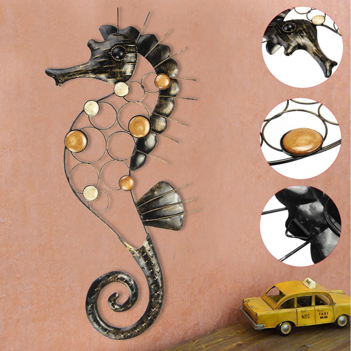 Large Metal Craft Seahorse Hanging Wall Art Garden 3D Decor Outdoor Indoor Home Ornament|Garden Statues & Sculptures| |  - title=