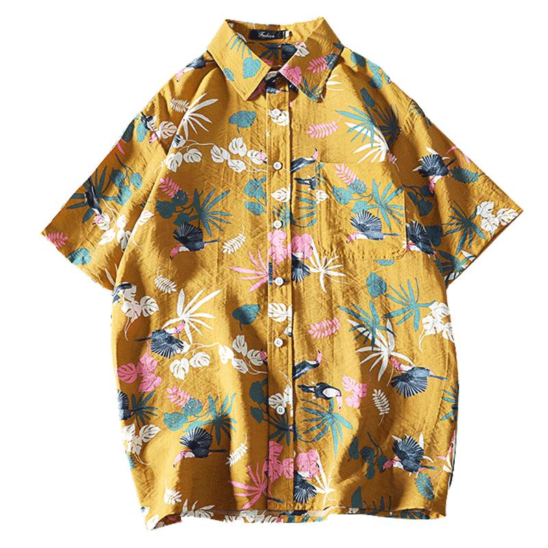 Men's Casual Shirt Fashion Hawaiian Summer Mens Casual Floral Print Short Sleeve Silk Shirt Men 5xl Vintage Dress Man HH50CS