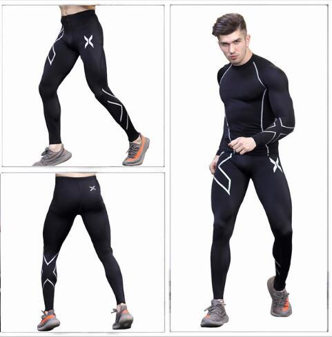 2019 Men's Set Tights Set Large-Men's Athletic Pants Quick-Dry Base Tights Training Suit