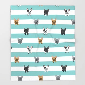 Bull Dog мультфильм пледы одеяло милые дети дизайн французский Бульдог полосы одеяла для кровати рождественские украшения для дома