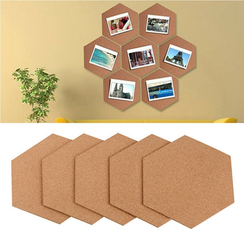 7pcs Stickers Photo Background Cork Board Wall Message Office Multifunction Self Adhesive Bulletin Home Wood Frame Hexagon