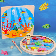 цена на Kids Wooden Magnetic Fishing Game Educational Toys For Children  Games Fish Early Educational Montessori Toys Gifts