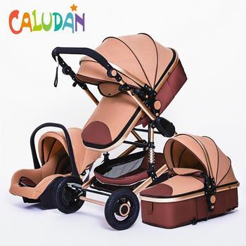 Luxuoso carrinho de bebê 3 em 1 portátil viagem carrinho de bebê dobrável carrinhos quadro alumínio alta paisagem carro para o bebê recém-nascido 1