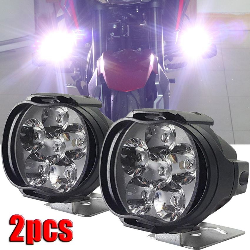 2Pcs 6 LED פנס עזר עבור אופנוע זרקורים מנורת רכב 6LED עזר פנס בהירות חשמלי רכב אור