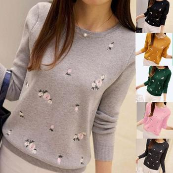 Women Fashion Floral Embroidery O Neck Pullover Knitted Jumper Sweater Knitted Sweater Pullover Knitted Casual Streetwear