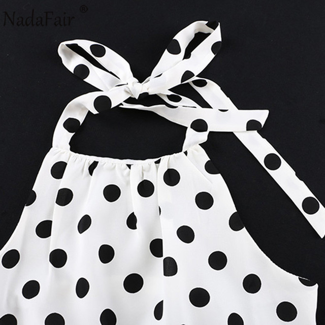 Nadafair Woman Short Jumpsuit Sexy Off Shoulder Backless Halter Chiffon Polka Dot White Summer Playsuit Women 6