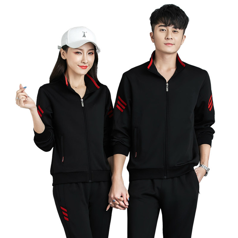 Spring And Autumn New Style Leisure Sports Suit Men's Running Women's Couples Long Sleeve Trousers Clothes Sports Clothing Print