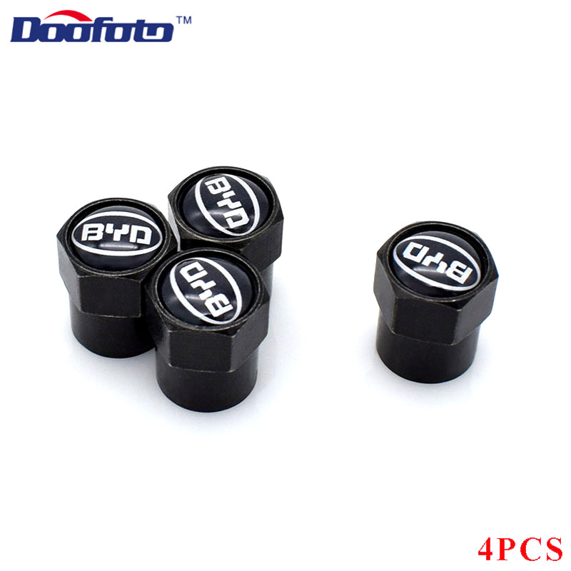 Doofoto 4x Car Valve Caps Wheel Tyre Tire Stem Protective Cover For BYD F3 F0 S6 F3R F0 F 3 Accesories Car Styling For All Car