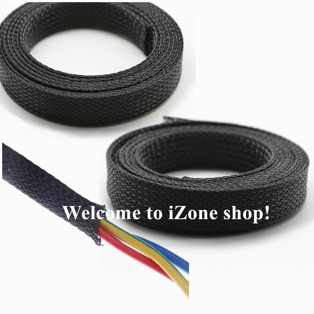 5//10M 4//6//8//10//12//15//20//25mm Black Braided Sleeve Tight Wire Cables Protection