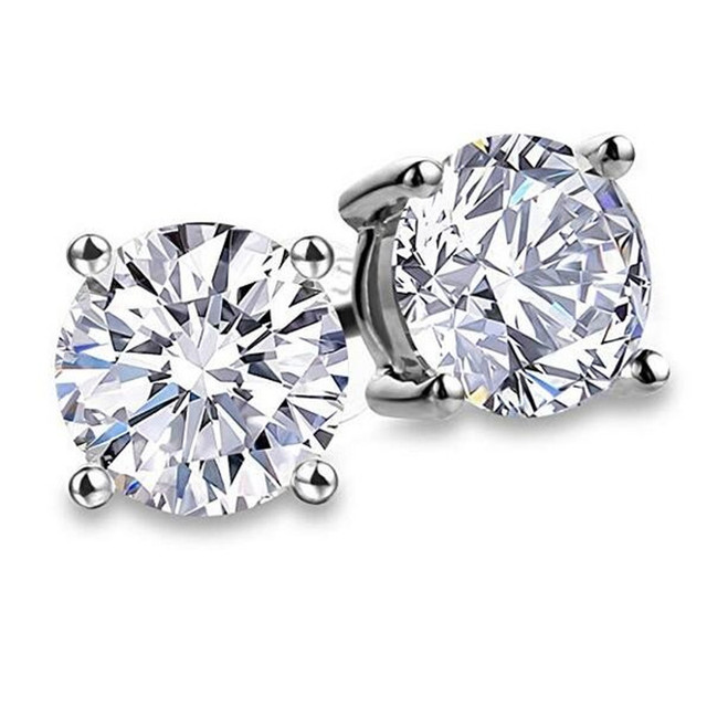 Solitaire 3ct Lab Diamond Gemstone Stud Earring 100 Real 925 sterling silver Jewelry Engagement Wedding Earrings.jpg 640x640 - Solitaire 3ct Lab Diamond Gemstone Stud Earring 100% Real 925 sterling silver Jewelry Engagement Wedding Earrings for Women men
