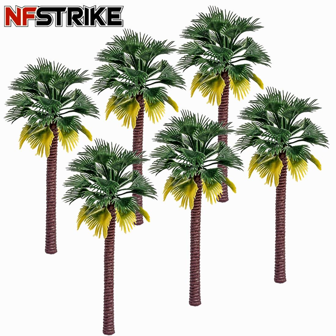 10 pces/50 pces 7 cm-15 cm de plástico coqueiro palmeira trem ferroviário arquitetura diorama árvore modelo decoração kits acessórios