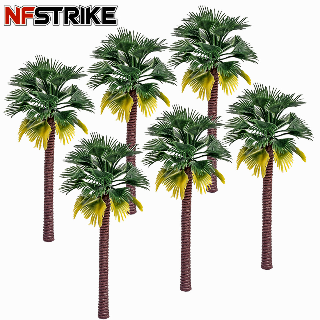 6 Pcs/Lot 12cm/15cm Plastic Coconut Palm Tree Train Railroad Architecture Diorama Tree Model Kits Toys Accessories Drop Shipping image