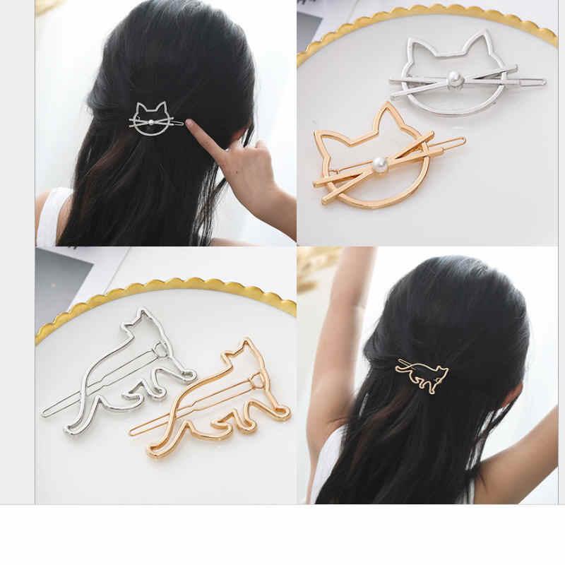 אופנה חלול חמוד חתול סיכת ראש חיקוי פרל מכבנת שיער צד קליפ ירח כוכב שיער Barrette לנשים ליידי ילדה מתנות