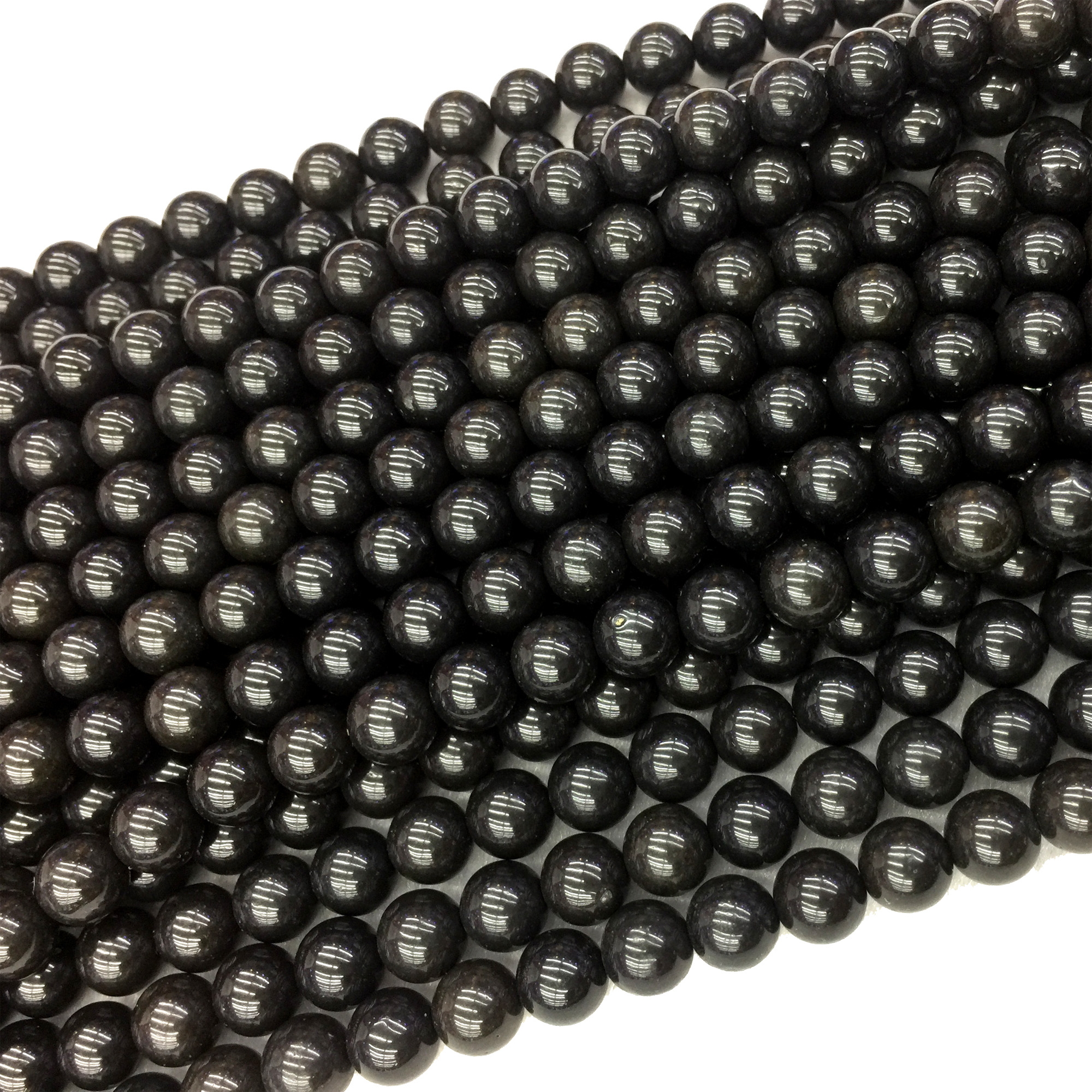 Natural Genuine Black Jade Jet Round Jewellery Loose Ball Beads 6-10mm 15