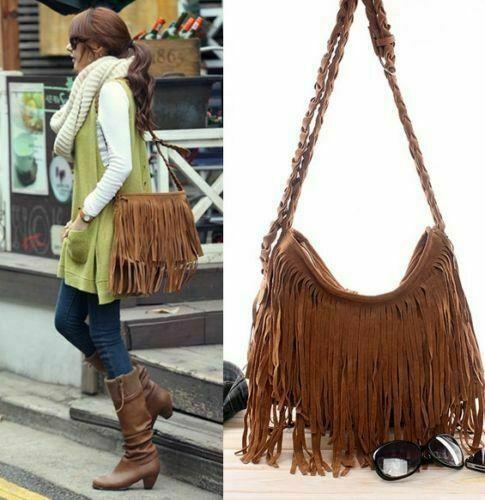 Fashion Trending Women's Fringe Messenger Shoulder Tassel Bag Handbag Crossbody Satchel Solid Scrub Faux Fur Tote