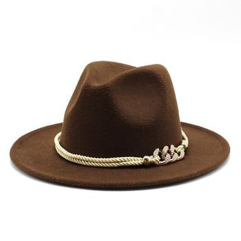 Black/white Wide Brim Simple Church Derby Top Hat Panama Solid Felt Fedoras Hat for Men Women artificial wool Blend Jazz Cap 18