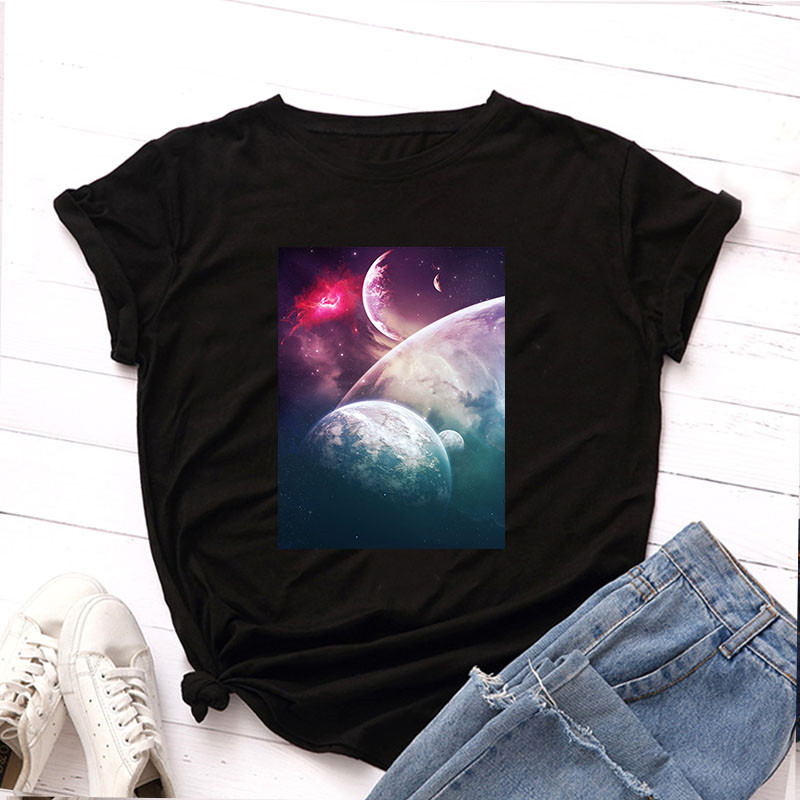 Plus Size Tshirt S-5XL New Moon Print T Shirt Women Shirts 100% Cotton O Neck Short Sleeve T-Shirt Summer Tees Casual Tops 3