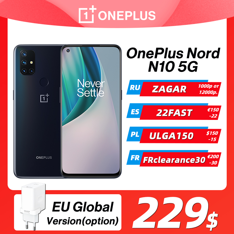 OnePlus Nord N10 5G OnePlus Official Store World Premiere Global Version 6GB 128GB Snapdragon 690 Smartphone 90Hz Display 64MP Cellphones  - AliExpress