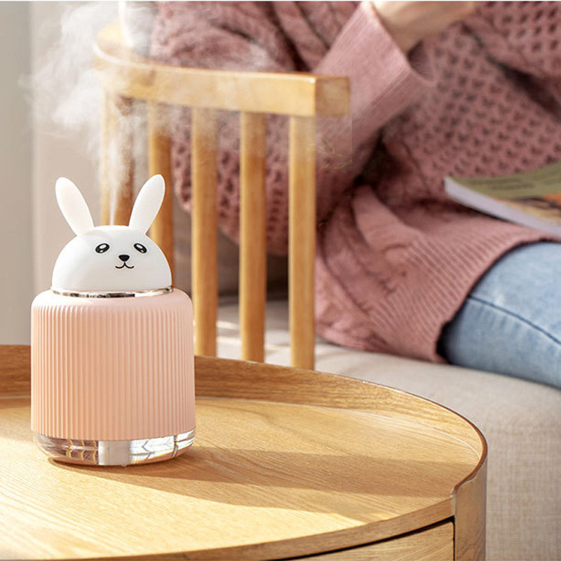 300ML USB Portable Air Humidifier Ultrasonic Aroma Oil Essential Diffuser LED Light Cute Cat Bear Mist Maker For Home Car